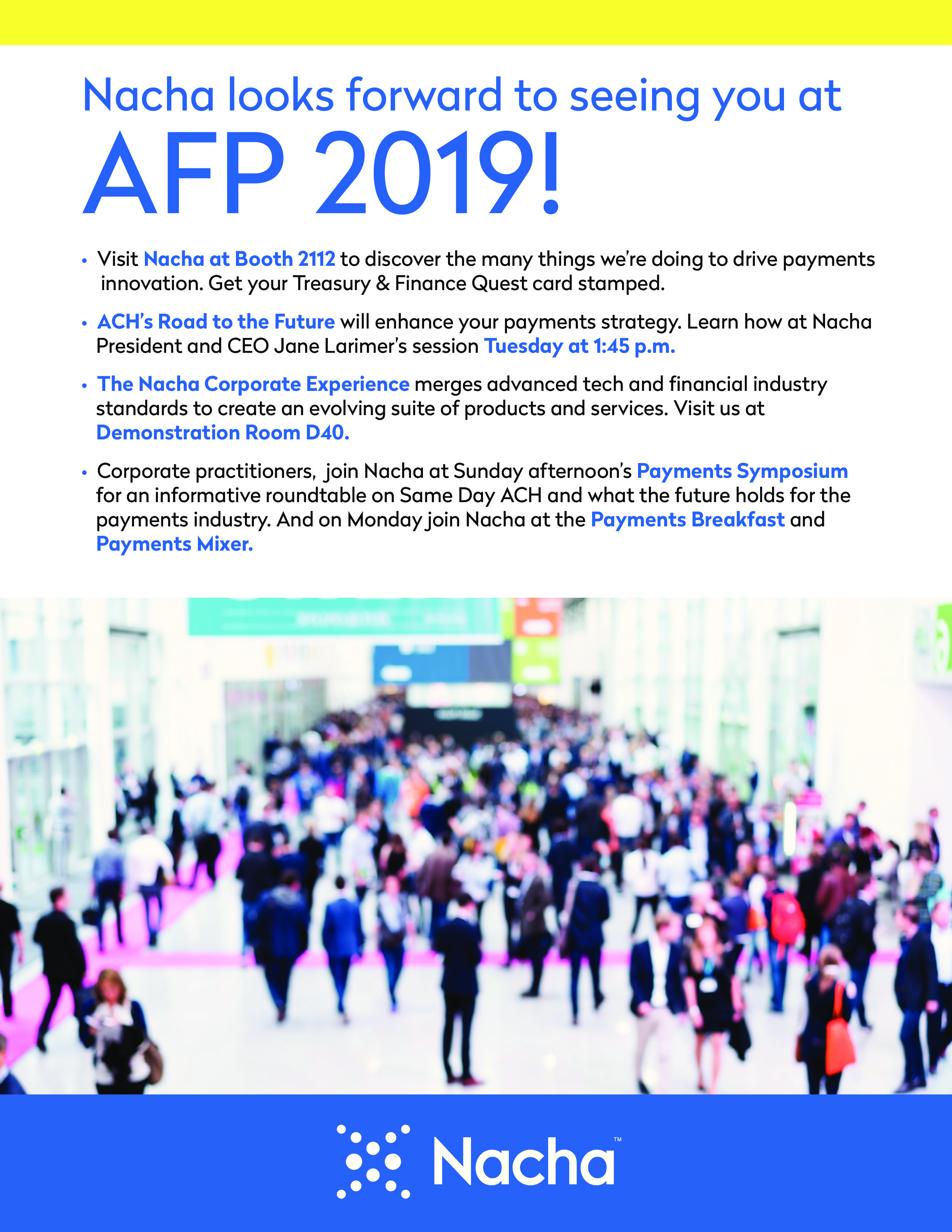image of pdf describing what nacha is doing at afp 2019