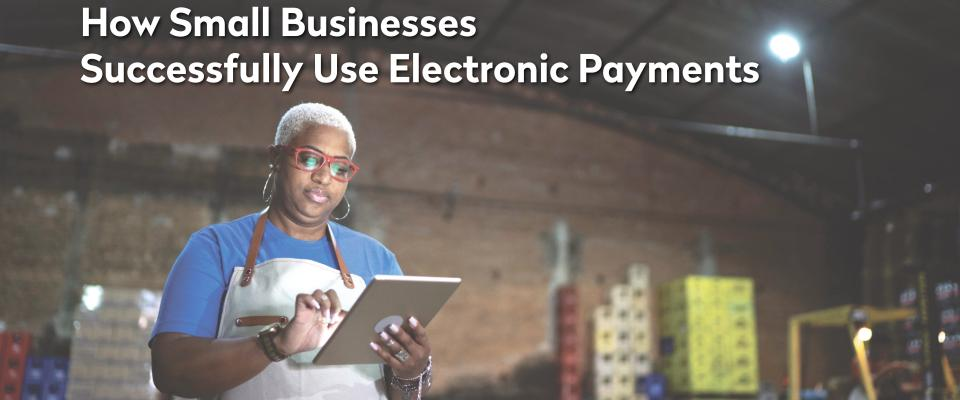 lady in warehouse doing ACH payments